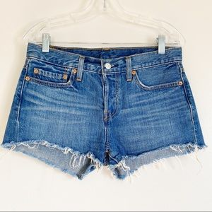 LEVI'S 501 Button Fly Cut Off Denim Shorts Raw Hem